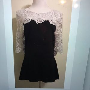 Eloquii black blouse with white lace
